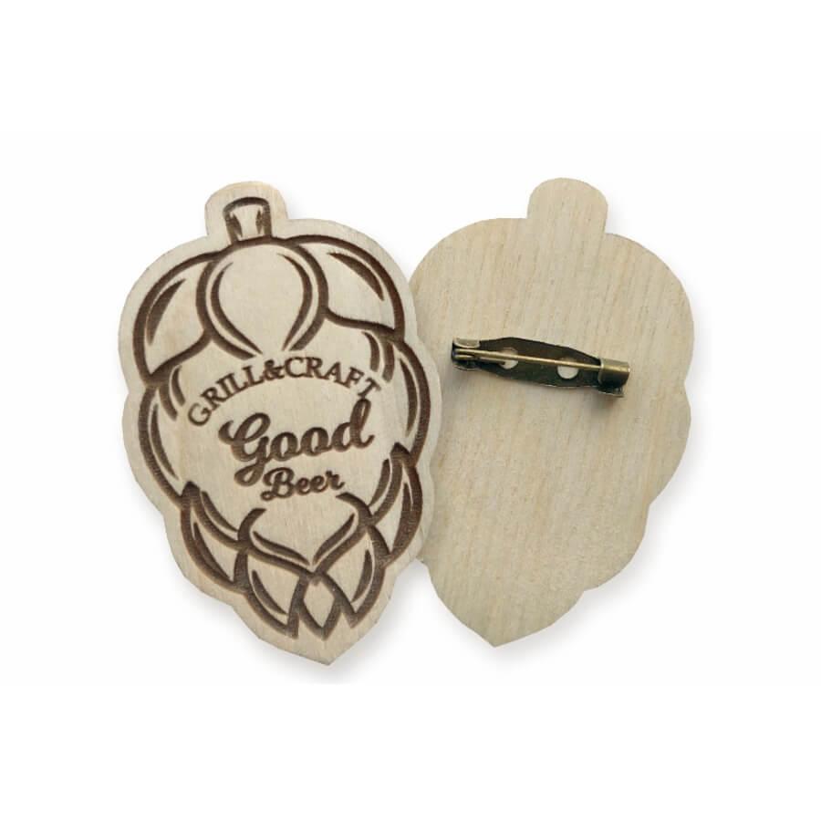 Значки деревянные крючок пришивной